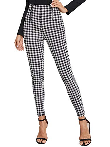 WDIRARA Women's Plaid Zip Front Skinny Pants Stretchy Work Gingham Leggings Black and White S