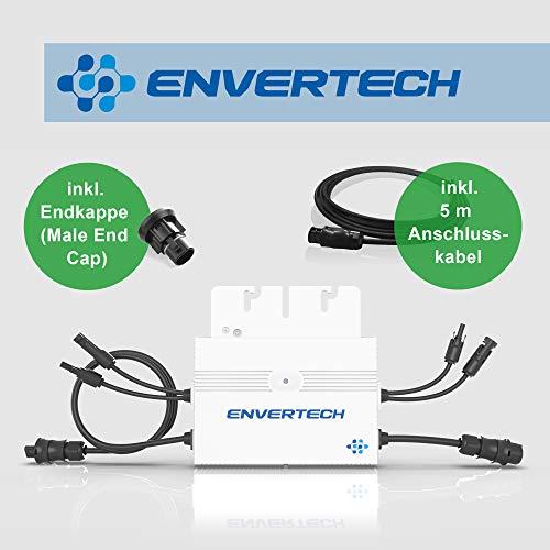 Neue Generation: Envertech SEEYES EVT560 Microinverter (Mikrowechselrichter) inkl. 5 m Anschlusskabel und Endkappe für Mini-, Balkon-, Solaranlagen/PV-Anlagen (Ausführung Betteri-Anschluss)