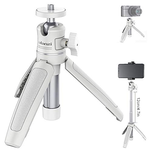MT-08 Desktop Tripod Extendable Handheld Pole Mini Tripod Selfie Stick Handle Compatible for iPhone 11 Pro Max Samsung Google Smartphone Canon Sony RX100 VII A6400 A6600 Cameras Vlogging-White