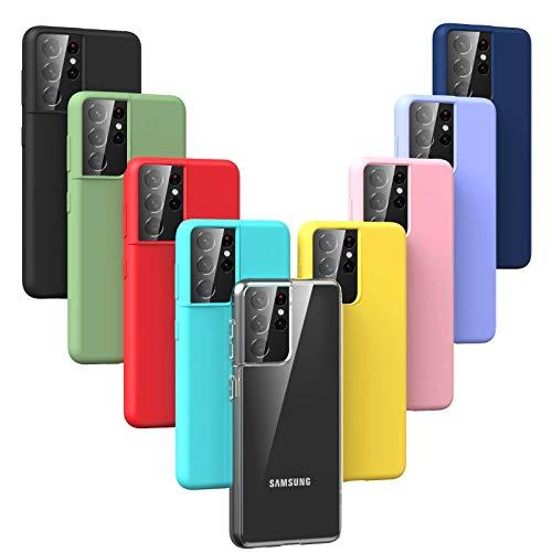 Oududianzi - Cover per Samsung Galaxy S21 Ultra 5G, Custodia Morbida in Silicone TPU Sottile e Leggero e Antiurto AntiGraffio Anti-Goccia Protettiva Flessibile Gomma Case [ 9 Colori ]