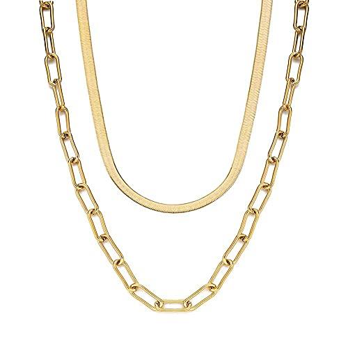 JEFEYI Collar de Cadena de Doble Capa de Acero Inoxidable para Mujeres y Hombres, Cadena de Clip de Papel de Serpiente, Gargantilla, Collares, joyería de Hip Hop, Color Dorado