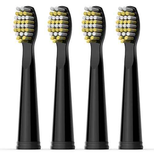 Fairywill Electric Toothbrush Hard Brush Heads x4 for Model FW-D1/FW-D3/FW-D7/FW-D8/FW-917 Sonic Toothbrush Black