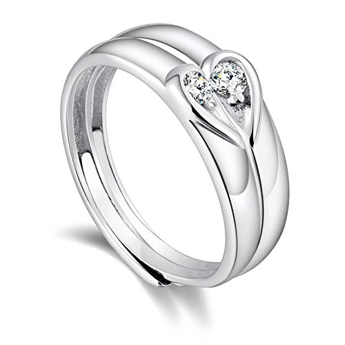 ANAZOZ 925 Sterling Silver Rings Puzzle Love Heart Zirconia I Love You Mens and Womens Wedding Ring Sets Couples Rings