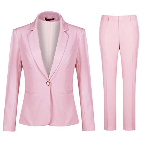 Women's 2 Piece Office Work Suit Set One Button Blazer and Pants Pink