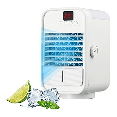 QJN Enfriador de aire portátil, mini ventilador de refrigeración USB, pequeño ventilador de aire acondicionado refrigerado por agua, silencioso y fuerte viento
