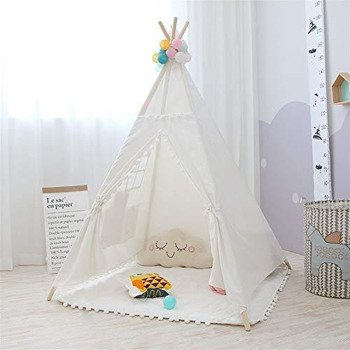 XinQing-Tienda Carpa Infantil, Princesa India Cubierta Plegable de Lona de algodón Play House, la casa del Juguete 120x120x150cm (Color : White)