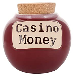 Cottage Creek Piggy Bank, Casino Money Coin Bank, Round Ceramic Slots Cork Jar, Gambling and Vegas Money Bank [Red] by Cottage Creek