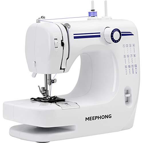 MEEPHONG Máquina de Coser Eléctrica Portátil,Muebles Multifuncional Maquina de Coser ,Adecuado Para Sewing Machine Para Principiantes Y NiñOs, Con Pedal,12 Needles,2 Speeds,,Azul