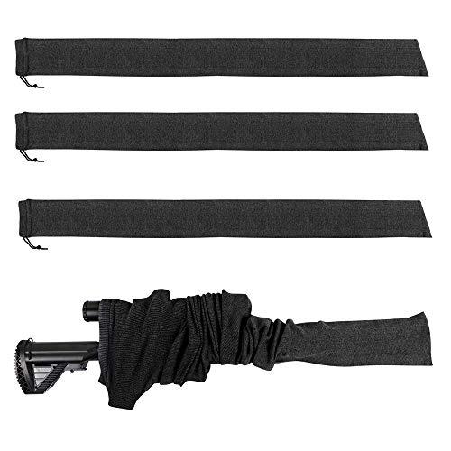 4-Pack Gun Sock Silicone Treated Rifle Socks 52' Anti-Rust Tactical Outdoor Shooting Hunting Sack Storage Bag (Black)