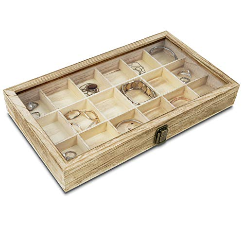 """MOOCA Wooden Display Storage Case with Tempered Glass Lid for Jewelry and Beads with 18 Compartments Tray, Oak Color, 15""""W x 8 3/4""""D x 2""""H"""