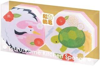 【紅白鶴亀キッチンスポンジ】縁起 おめでた 新年 お正月 敬老 まとめ買い (60個セット)