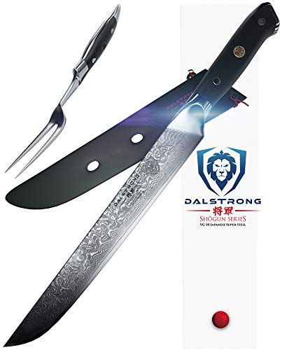 "DALSTRONG Carving Knife & Fork Set - Shogun Series - Damascus 9"" - Japanese AUS-10V Super Steel - Sheath"