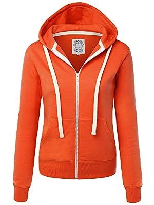 Made By Johnny MBJ WSK954 Womens Active Fleece Zip Up Hoodie Sweater Jacket L Orange