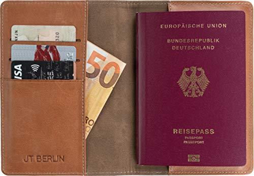JT Berlin Echtleder Reisepassetui Tegel in cognac - [Kartenfächer, Handarbeit, Logoprägung und Ziernähte] - 10420