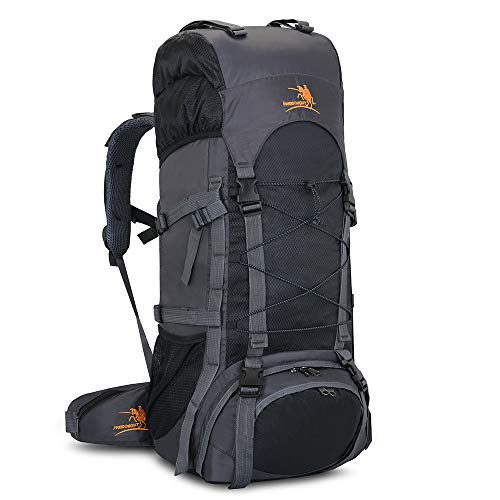 60L Internal Frame Hiking Backpack with Rain Cover,Outdoor Sport Travel Daypack for Climbing Camping Touring (Black)