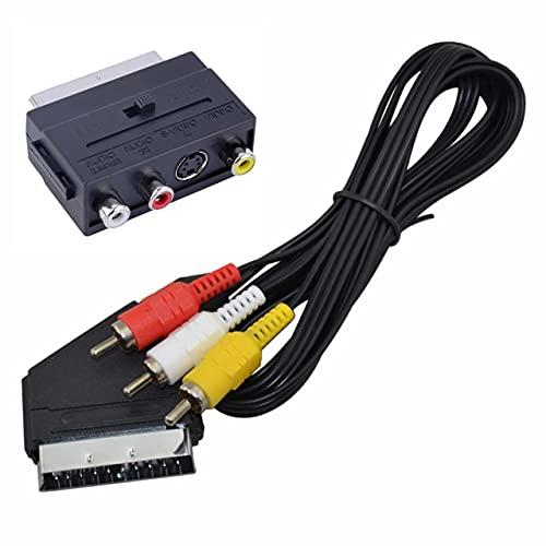 Easyeeasy 1,5 M Scart a 3 RCA Scart Audio Video TV / DVD Cable Macho Interruptor de Plomo Cable Compuesto Chaqueta de PVC Duradera