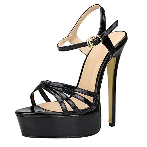 fereshte, High Heels für Herren, Damen, Crossdresser, Drag Queen, Plateau-Stiletto-High-Heels, Sandalen, Party-Pumps, Schwarz - Schwarz  - Größe: 39 EU
