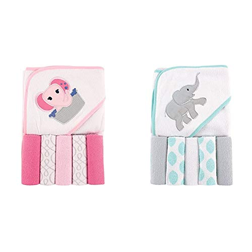 Luvable Friends Unisex Baby Hooded Towel with Five Washcloths, Pink Elephant, One Size and Luvable Friends Unisex Baby Hooded Towel with Five Washcloths, Ikat Elephant, One Size