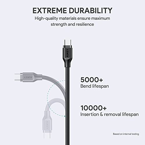 AUKEY USB C Cable 3.3ft, [3 Pack] USB 3.0 Type C Cable Fast Charge for Samsung Galaxy S9 S9 Plus S8 S8 Plus Note 8, LG V30 V20 G6 G5, HTC U11/10 and More