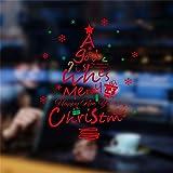 Fondo de la Pared de Cristal del árbol de Navidad Rojo de la Navidad DIY Etiqueta engomada de la Sala Compras de la Ventana Porche Mesa de Noche Decoración Wallpapers