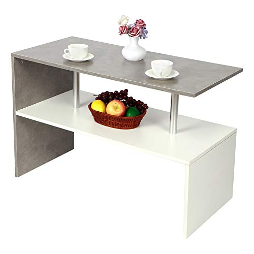 AYNEFY Mesa de centro auxiliar, mesa de café, mesa de estilo nórdico, mesa de café, mesa de té, con estante abierto, para salón, mueble