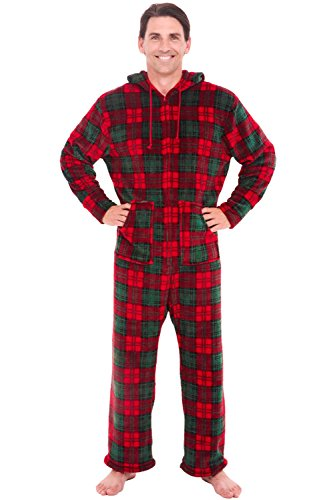 Alexander Del Rossa Men's Warm Fleece One Piece Footed Pajamas, Adult Onesie with Hood, Small Red and Green Christmas Plaid (A0320Q03SM)