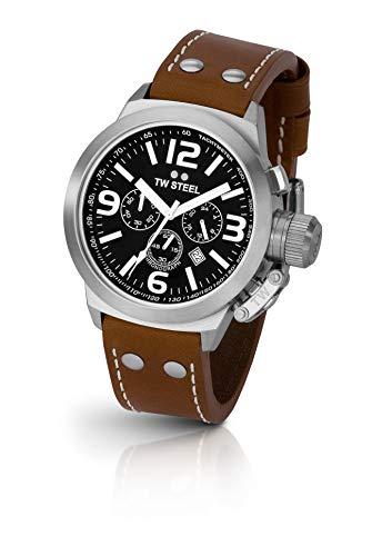 TW Steel CEO Canteen Black Dial Leather Quartz Mens Watch TW6