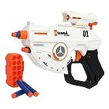 Pistola de Foam TINLEON - Pistola de hasta 83 pies de Alcance Compatible para Nerf Fortnite con 12 Dardos de Recambio compatibles, Pistola de Bala Suave de explosión Manual Regalos