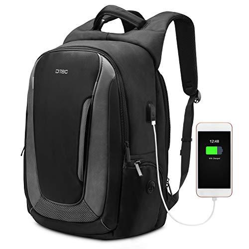 DTBG 17,3 Zoll Laptop Rucksack Reiserucksack Nylon Rucksack Wasserdicht Daypack mit USB Port passend für 43,3-17,3 Zoll Laptop für Schule/Arbeit/Herren/Frauen (schwarz)