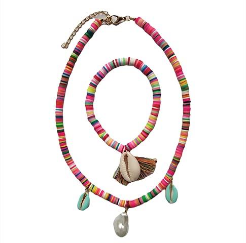 Gargantilla de goma multicolor y pulsera de Shell Pedant mujeres accesorio verano playa fiesta 2021 j2boutique novedad diseño