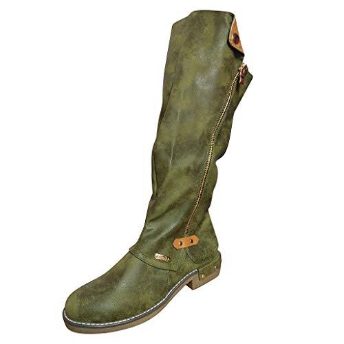 HDUFGJ Stiefel Damen Outdoor-Schuhe hohe Stiefel Ritterstiefel Chelsea Boots Stiefeletten Gummistiefel Wanderhalbschuhe Trekkingschuhe Mittlere Stiefel kurz Boots hohen Absätzen Knie40 EU(Grün)