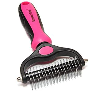 Maxpower Planet Pet Grooming Brush – Double Sided Shedding and Dematting Undercoat Rake Comb for Dogs and Cats,Extra Wide,Pink