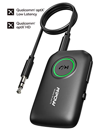 Mpow Bluetooth Transmitter Receiver, 2-in-1 Wireless 3.5mm Adapter with Bluetooth 5.0, aptX Low...