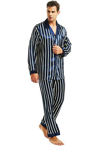 Herren Seide Schlafanzug Pyjama Homewear Blue Striped Large