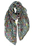 GERINLY Scarfs for Women Head Covering Fashion Floral Birds Print Cotton Headscarf (Dark Grey)