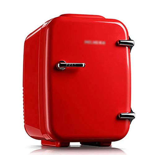 LQQ Mini Réfrigérateur Rétro de Voiture Frigo Petite Chambre 4L Congélateur Muet Compact Glacière et Réchauffeur Portables Glacière À Fruits Rouge AC/DC pour la Maison Extérieure