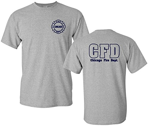 Chicago Fire Department Maltese Cross T-Shirt (X-Large, Sports Grey)