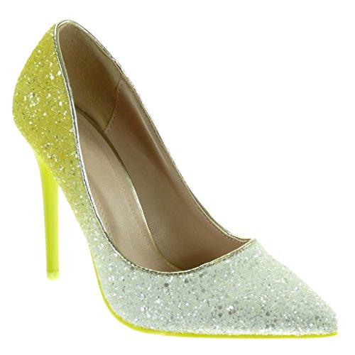 Angkorly - Damen Schuhe Pumpe - Stiletto - Dekollete - Glitzer - glänzende Stiletto 11 cm - Gelb L506-3 T 41