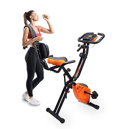 Vélo d appartement Pliable, Fitness, résistance magnétique, élastique de Musculation, réglage écartement siège Vélo d exercice pour Homme et Femme Support pour Tablette Vendu par Anna-FIT