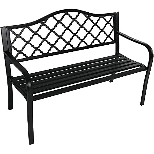 Banco de parque de metal para exteriores, banco de porche de jardín para muebles de exterior, banco de ocio con estructura de hierro fundido a prueba de herrumbre con respaldo y reposabrazos, para cés
