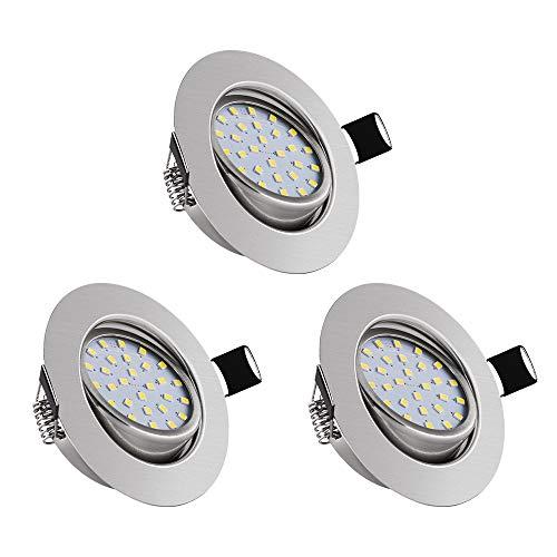 3er Set Schwenkbare LED Einbaustrahler, bapro 5W 450LM Schwenkbar LED Einbauleuchten Deckenspot, IP44 Ultra Flach LED Decken Spot Warmweiß 3000K Lampe Deckenbeleuchtung 26mm Einbautiefe Wandlampe