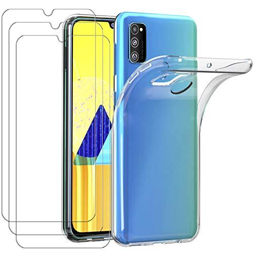 ivoler Hülle für Samsung Galaxy M30s / M21, mit 3 Stück Panzerglas Schutzfolie, Dünne Weiche TPU Silikon Transparent Stoßfest Schutzhülle Durchsichtige Handyhülle Kratzfest Hülle