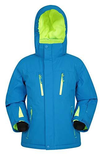 Mountain Warehouse Galactic Extreme wasserdichte Kinder-Skijacke - atmungsaktiver Wintermantel für Jungen und Mädchen, überklebte Nähte, Abnehmbarer Schneefang Blau 7-8 Jahre