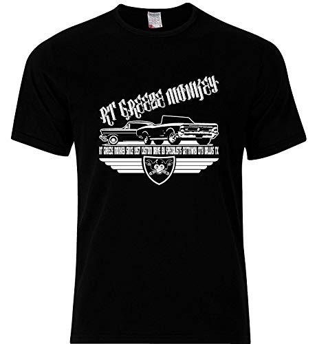 Meisjes T-shirt Greeze AFFE 1957 Garage Gas Drive van Auto Motze American op maat gemaakt