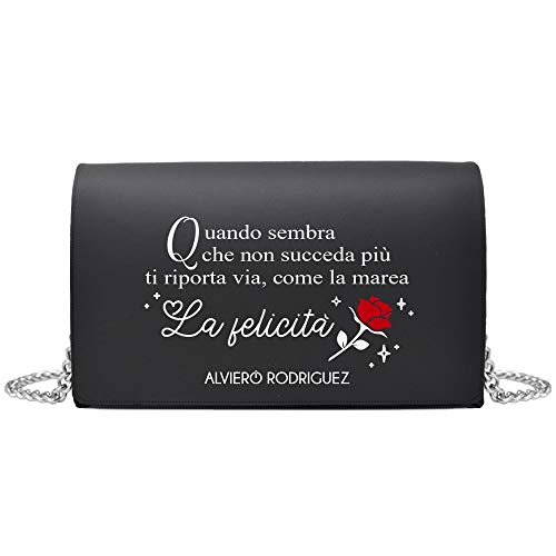 Alviero Rodriguez Borsa catena pelle borsa a spalla nera bottone magnetico nero borsa Beauty and Beast