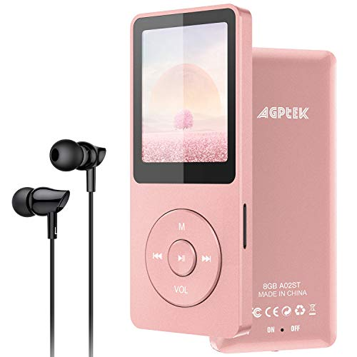 AGPTEK MP3 Player 8GB Bluetooth 5.0 mit Kopfhörern, 1.8 Zoll 70 Stunden Wiedergabezeit Kinder MP3 Player FM Radio, bis 128G SD Karte, Rosagold
