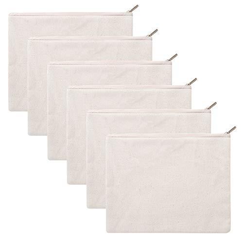 6 bolsas de lona de algodón de 340 g con cremallera de la marca Aspire, 20 x 15 cm, color natural talla única
