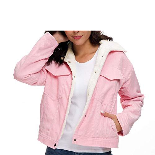 RJJBYY Pullover für Damen, dicke Cordjacke, Herbst/Winter, mit Lammfell-Wolljacken, süße Oberbekleidung, lässiger Mantel, warme Parkas