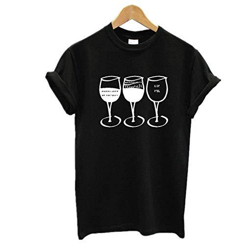 Camiseta de manga corta con estampado de vino para mujer, cuello redondo, suelto, camiseta de verano
