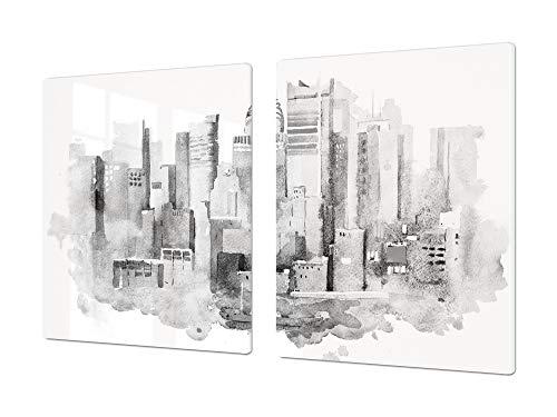 Protector de placas de cocina de 80 cm – Gigante Cubre encimeras de cristal – Tabla de cortar grande – UNA PIEZA (80 x 52 cm) o DOS PIEZAS (40 x 52 cm) Serie de la Ciudad DD12